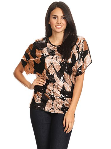 Loose Fit Sequin Dolman Sleeve Evening Blouse Top - kats closet1
