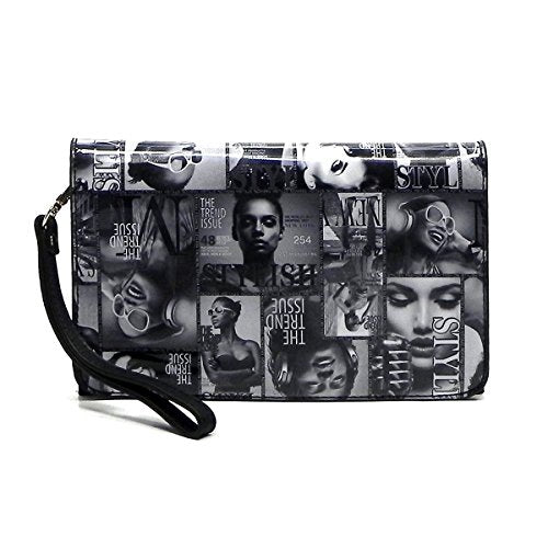 Magazine Cover Collage Hipster Clutch Cross Body Bag Messenger Bag - kats closet1