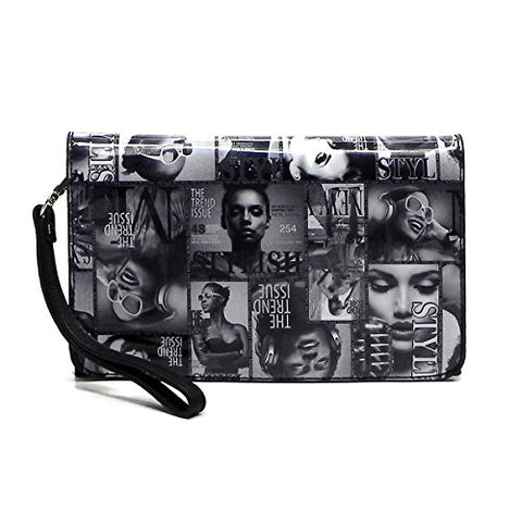 Magazine Cover Collage Hipster Clutch Cross Body Bag Messenger Bag