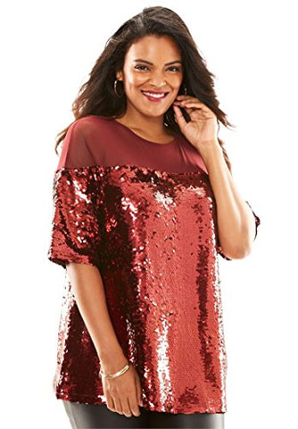 Plus Size Sequin Illusion Boxy Top - kats closet1