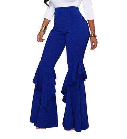 High Waist Ruffle Flare Fit Pants Solid Color Wide Leg Trousers With Back Zipper - kats closet1