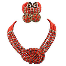 Load image into Gallery viewer, Africanbeads 4 Layers Crystal Choker Necklace Nigerian Wedding African Beads Jewelry Set Party Gift - kats closet1
