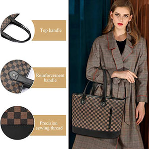 Checkered Tote PU Leather Shoulder Bag Brown/Black