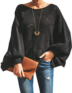 Women's Pullover Batwing Sleeve Loose Hollow Knit Sweater - kats closet1