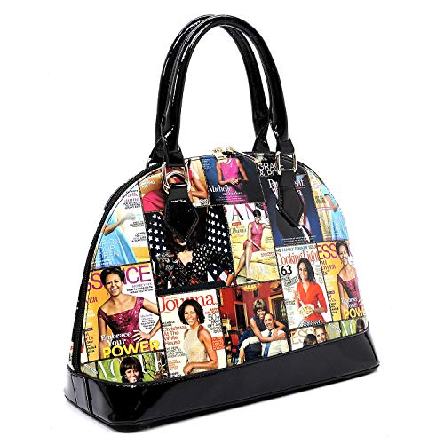 aaa556b53a2d Glossy magazine cover collage dome satchel bag purses bowling bag ...