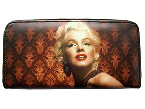Marilyn Monroe Vintage Tea Stained USA American Flag Money Card Holder Wallet