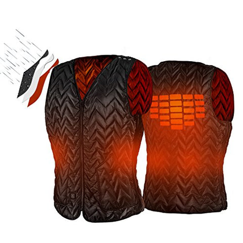 USB Charging Electric Heated Body Warmer Down Vest, Washable Size Adjustable Heated Clothing for Outdoor Hike, Hunt, Camp(Black) - kats closet1