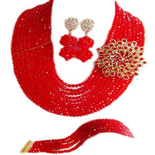 Load image into Gallery viewer, Nigerian Wedding African 10Rows Red Beads Bridal Jewelry Sets LCF060 - kats closet1