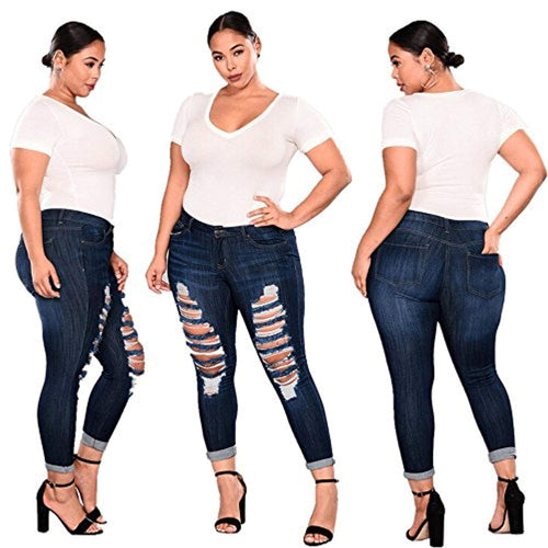 Plus Size Ripped Stretch Slim Denim Skinny Jeans High Waist - kats closet1