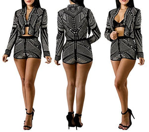 Corala Women Long Sleeve Rhinestone Embellished Jacket and Short Pant 2 Piece Outfits - kats closet1