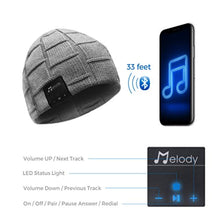 Load image into Gallery viewer, Bluetooth Beanie Hat, Wireless 4.0 Hands-Free Knit Music Cap with HD Stereo Speaker Headphone Mic Rechargeable USB for Winter Fitness Outdoor Sports