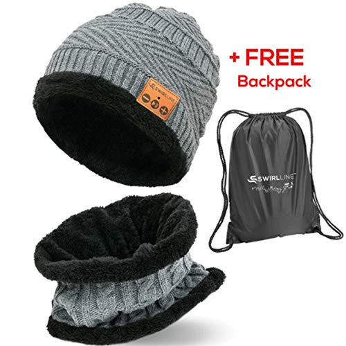 Wireless Beanie - Wireless Headphones Hat and Scarf Set for Winter Outdoor Men Women Warm Knitted Music Hat With Backpack - Built-in Microphone