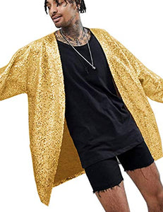 COOFANDY Men's Sequin Cardigan Party Nightclub Hip Hop Stylish Open Front Cape Cloak - kats closet1