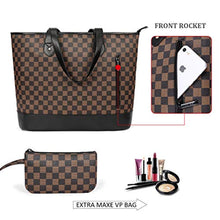 Load image into Gallery viewer, Checkered Tote PU Leather Shoulder Bag Brown/Black