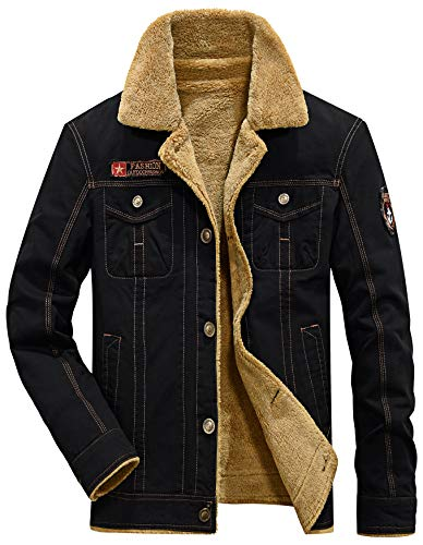 Vcansion Men's Winte Fleece Windproof Jacket Wool Outerwear Classic Jacket Coats - kats closet1