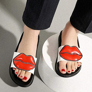 Women Anti-Slip Cute Lip Flat Slide Sandals