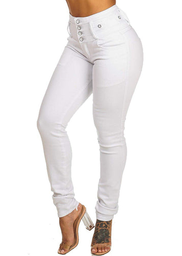 Butt Lifting Light Wash High Waist Button Skinny Jeans - kats closet1