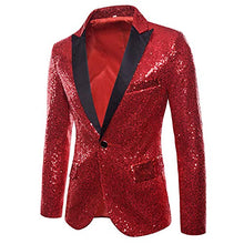 Load image into Gallery viewer, MAGE MALE Men's Shiny Sequins Suit Jacket Blazer One Button Tuxedo for Party,Wedding,Banquet,Prom - kats closet1