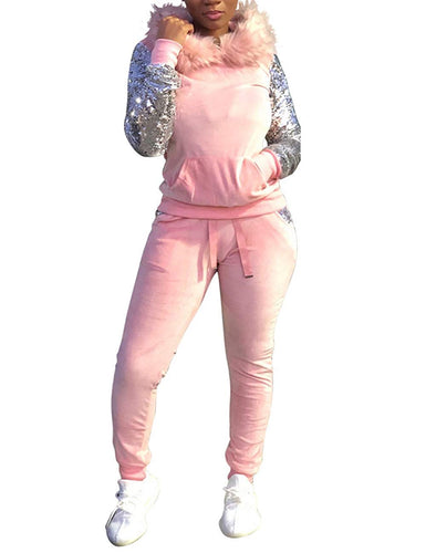 Women's 2 Piece Sequin Long Sleeve Fleece Hoodie+Long Bodycon Pants Outfit - kats closet1
