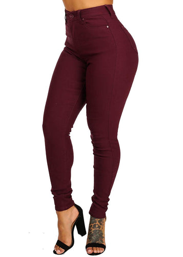 High Waist One-Button Colored Skinny Jeans - kats closet1