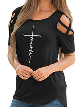 Load image into Gallery viewer, Faith Print Cold Shoulder Short Sleeve T Shirt