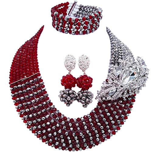 laanc Jewellery 8 Rows Red and Multicolor Gradient Crystal African Beads Nigerian Wedding Jewelry Sets - kats closet1