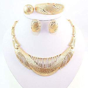 18k Gold Plated African Necklace Crystal Wedding Bridal Jewelry Set - kats closet1