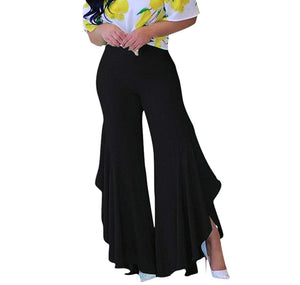 e6483c40e6 GUOLEZEEV Womens Elastic Waist Slit Flounce Flared Bottom Wide Leg Pants(5  Colors) -