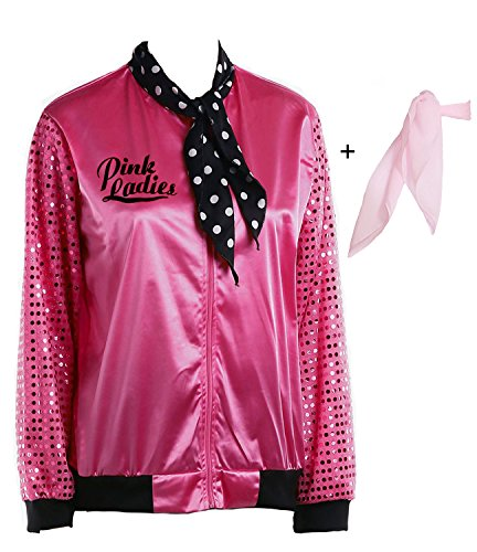 Yan Zhong 1950s Pink Ladies Satin Jacket Sequin Sleeve with Neck Scarf T Bird Women Costume Fancy Dress - kats closet1