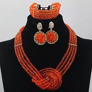 Africanbeads 4 Layers Crystal Choker Necklace Nigerian Wedding African Beads Jewelry Set Party Gift - kats closet1