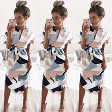 Load image into Gallery viewer, Summer Style Dress 2018 Casual Asymmetrical Geometric Printing Short Sash Knee-Length Dress O-Neck Elegant Women Dresses - kats closet1