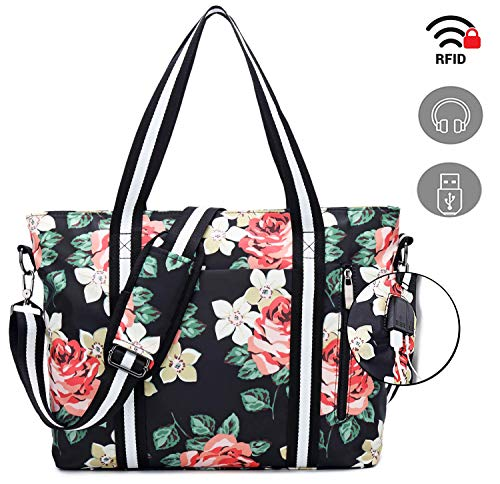Travel Laptop Tote Bag with USB Charging Port Handbag Water Resistant Shoulder Bag - kats closet1