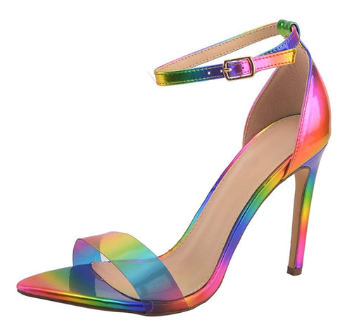 High Heels Open Toe Slip On  Stiletto Colorful Shoes