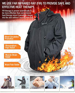 Heated Jacket for Men, Warm heating Coat with 7.4V Battery / 5 Heat Areas/Phone Charging Function - kats closet1