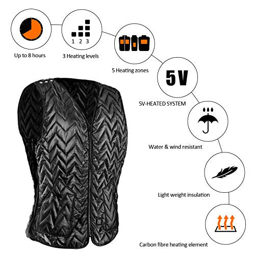 USB Charging Electric Heated Body Warmer Down Vest, Washable Size Adjustable Heated Clothing for Outdoor Hike, Hunt, Camp(Black)