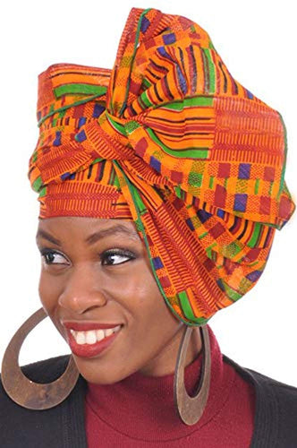 African Print Head wrap with Green Trim One Size Multicolor - kats closet1