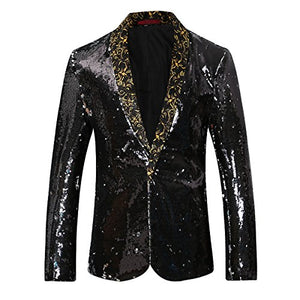 Men's Sport Coat Slim Fit Notched Lapel Sequins Dance Party Blazer Jacket - kats closet1