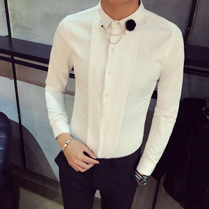 Top Quality Brand Men Shirts Long Sleeve Slim Fit Solid Tuxedo Shirt Men Night Club Singer Stage Costume Casual Social Shirt Man - kats closet1