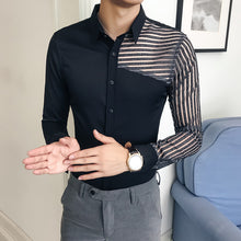 Load image into Gallery viewer, See Through Shirt 2018 Autumn Long Sleeve Transparent Solid Shirt Men Camisa Hombre Slim Fit Party Club Sexy Shirt - kats closet1