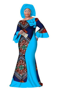 Long Sleeve African Maxi Long Dress - kats closet1