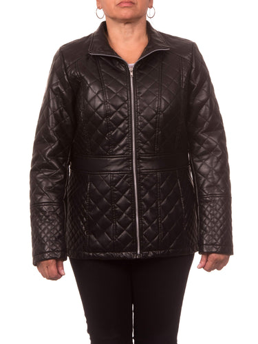 Women's Plus Size Faux Leather Diamond Quilted Zip-Front Jacket - kats closet1