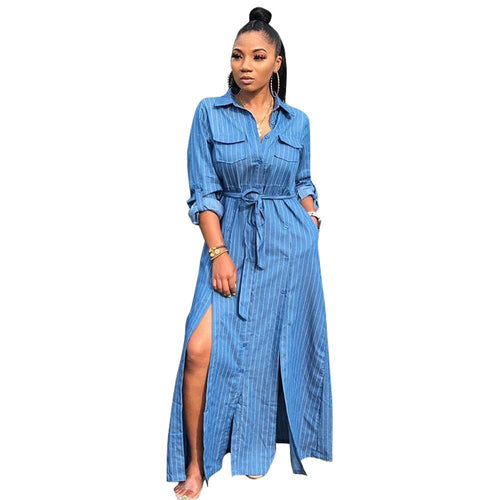 Long Sleeve Stripe Denim Dress