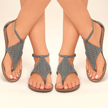 Load image into Gallery viewer, Grey/black/brown Summer Fashion Casual Women Flats Sexy Hollow Out Flip Top Sandals Thong Sandals - kats closet1