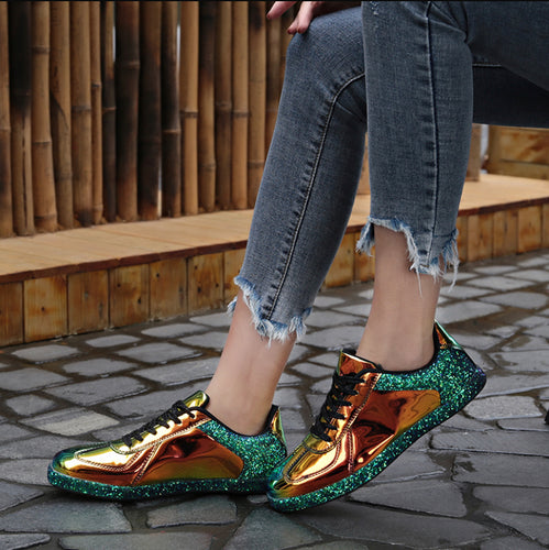 Gold Glitter Shinny Glossy PU Leather Sneakers
