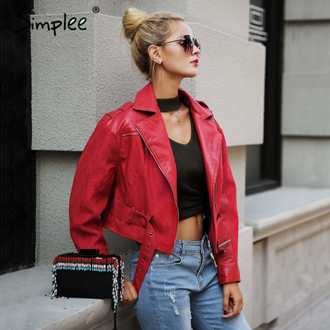 Fashion red PU leather jacket coat female Belt zipper suede patchwork basic jacket Casual outerwear faux leather coat