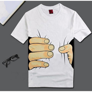Men&Womens Plus Size S M L XL XXL Unisex Big Hand Printed Funny Catch You Cotton Short Sleeve T-shirt Couple Tops Casual Blouse - kats closet1