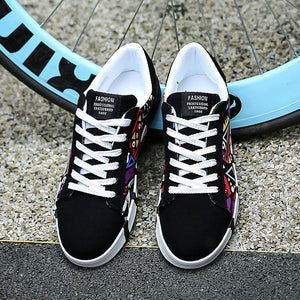 Men Spring Autumn Casual Flat Colorful Cool Graphic Low Top Canvas Sneakers Shoes (Blue, Black, White) - kats closet1