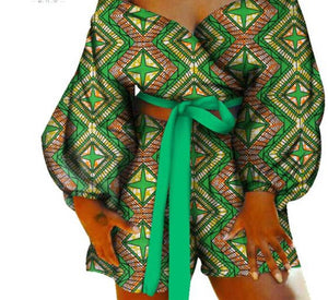 African Bow-Tie Top And Short Pants Sets - kats closet1