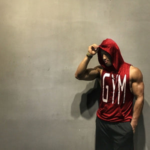 Men's Muscle Hoodies Fitness Bodybuilding Sleeveless Gym Tank Top Vest