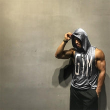 Load image into Gallery viewer, Men's Muscle Hoodies Fitness Bodybuilding Sleeveless Gym Tank Top Vest